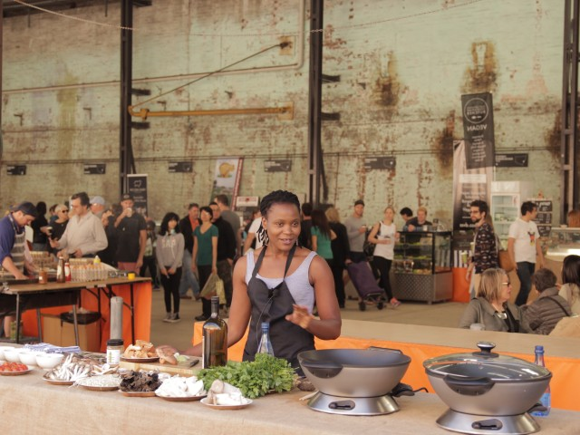 02 At the Carriageworks Farmers Market, Chido talks about her work in mushroom farming